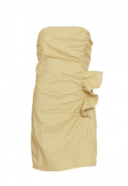 Natural Gingham Ruched Dress in Yellow alternate img #9