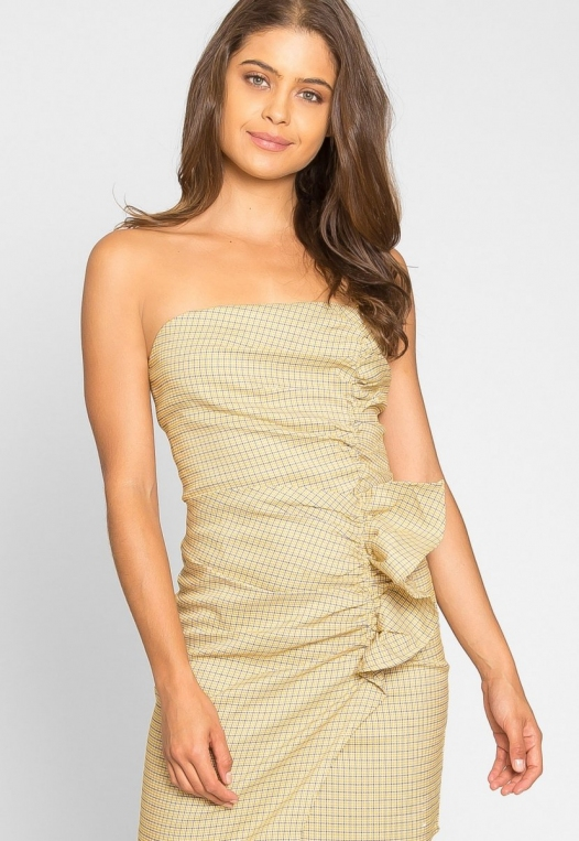 Natural Gingham Ruched Dress in Yellow alternate img #7