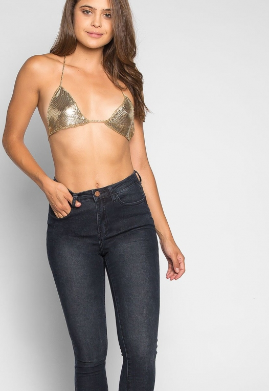 So Cool Chainmail Bralette in Gold alternate img #5