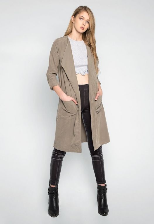 Almost Famous Roll Tab Lapel Coat in Sage alternate img #4