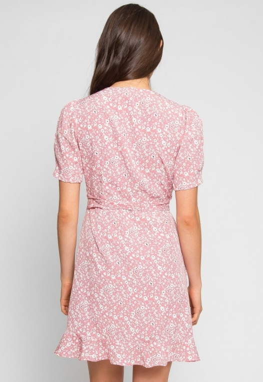 Petals Floral Wrap Dress in Pink alternate img #4