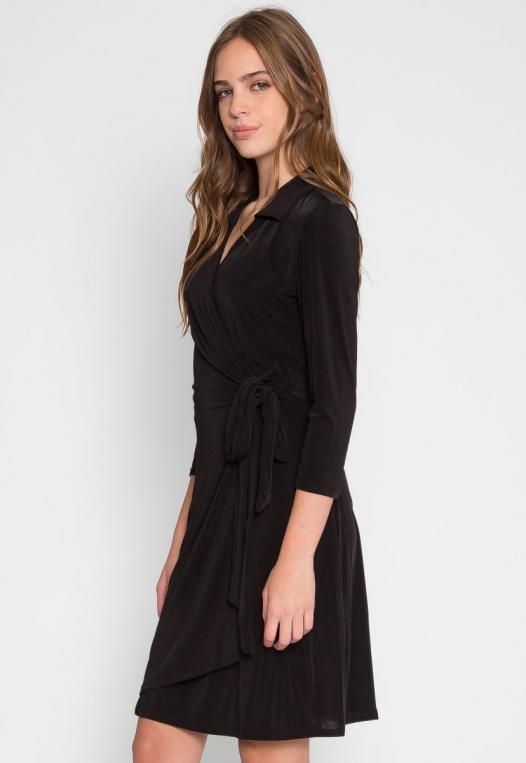 Horizon Wrapped Robe Dress in Black alternate img #2