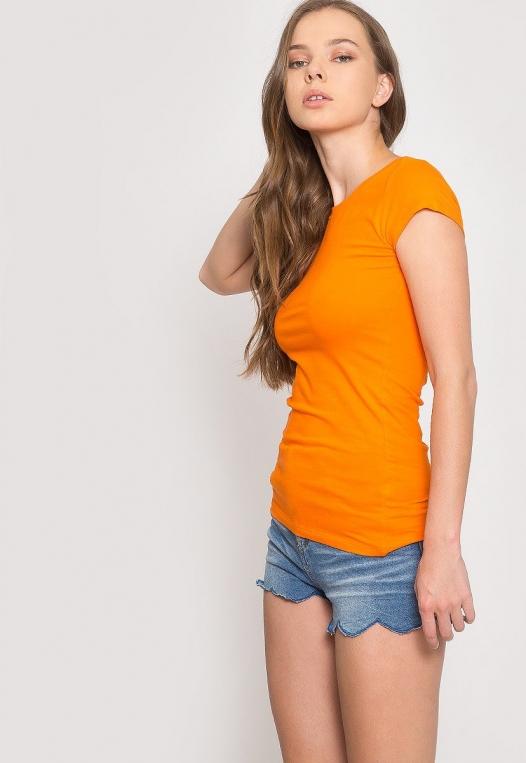 Venus Fitted Crew Neck Tee in Orange alternate img #5