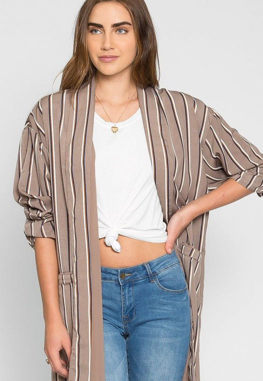 Rumors Longline Stripe Kimono in Gray alternate img #5