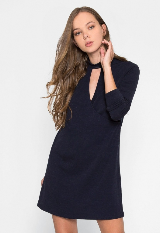 House Warming Surplice Dress in Navy alternate img #1