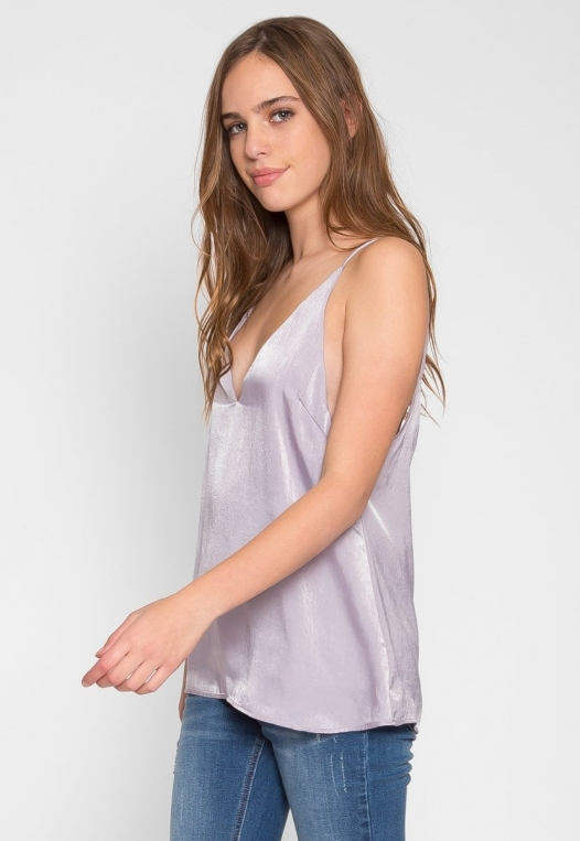 Bright Eyes Satin Cami Top in Mauve alternate img #3