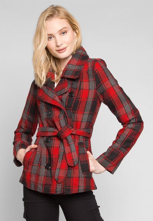Autumn Belted Plaid Coat alternate img #1