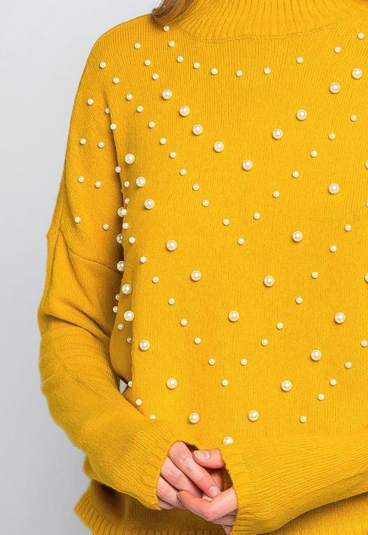 Pearl Embellished Mock Neck Sweater alternate img #6