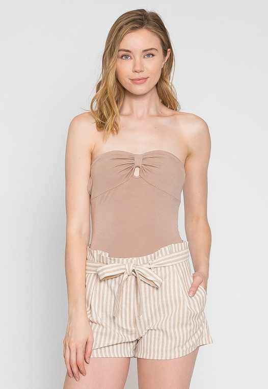 Mighty Strapless Bodysuit in Mocha alternate img #1