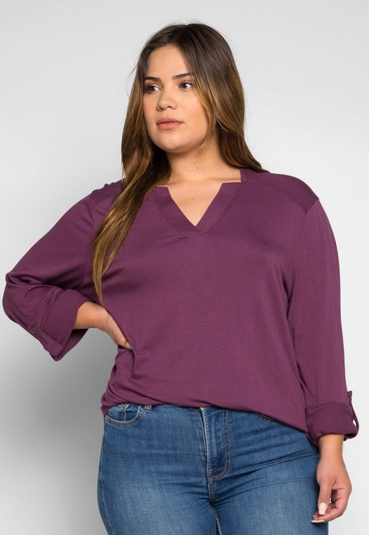 Plus Size Madeline Roll Tab Sleeve Blouse in Purple alternate img #3