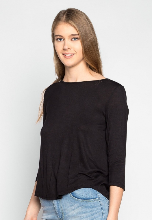 Popsicle Open Back Knit Top in Black alternate img #1