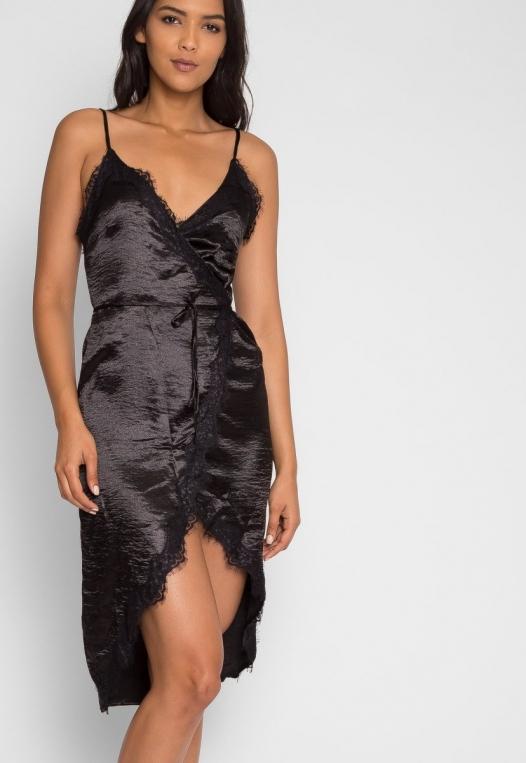 Mercury Satin Wrap Dress in Black alternate img #5