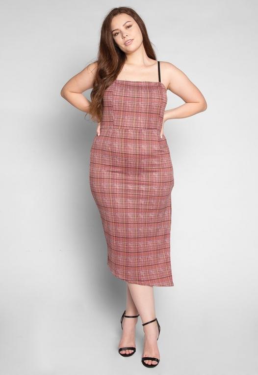 Plus Size Secrets Plaid Slit Dress in Red alternate img #1