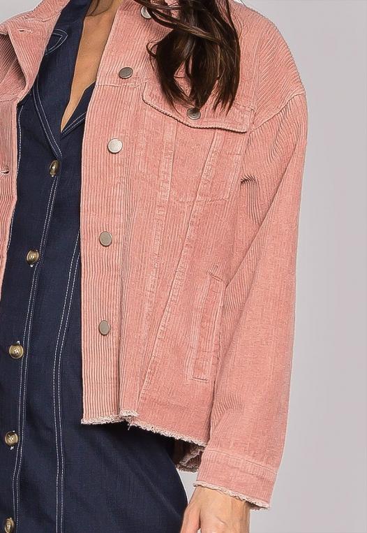 Emily Raw Hem Corduroy Jacket In Pink alternate img #6