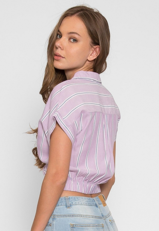 Mighty Real Stripe Crop Shirt in Lavender alternate img #2