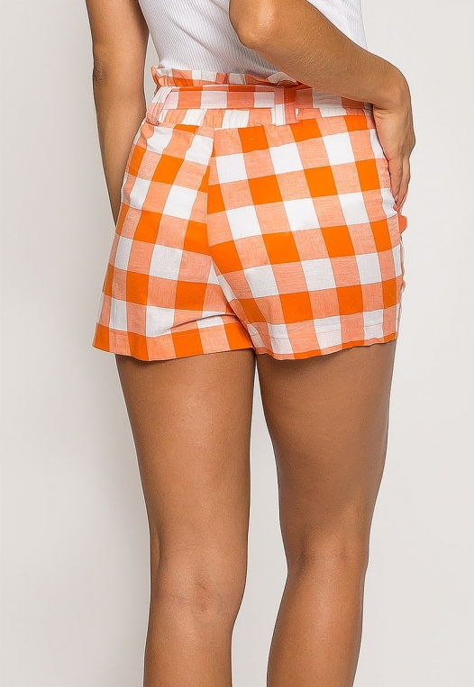 Gingham Plaid Paperbag Shorts in Orange alternate img #2