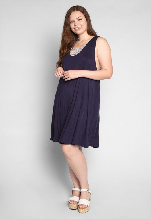 Plus Size Love Stories Tank Dress in Navy alternate img #4