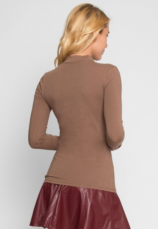 Sue Mock Neck Long Sleeve Top in Mocha alternate img #4