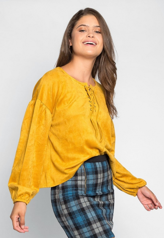 Budapest Lace Up Top in Mustard alternate img #2