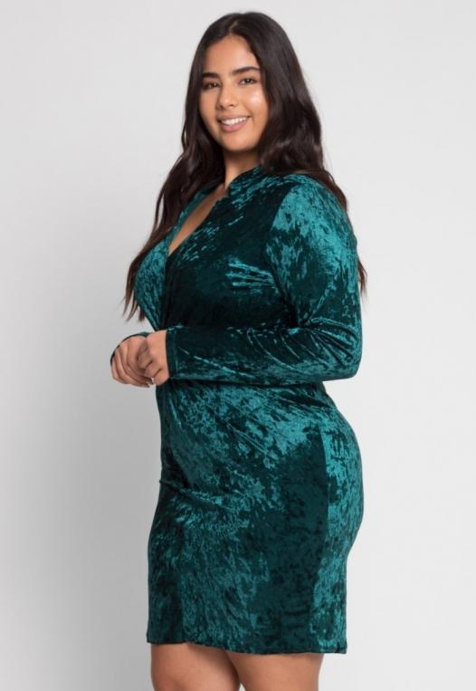 Plus Size Wild Velvet Party Dress in Green alternate img #2