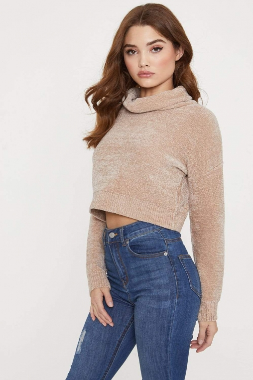 Chenille Roll Neck Cropped Sweater alternate img #2
