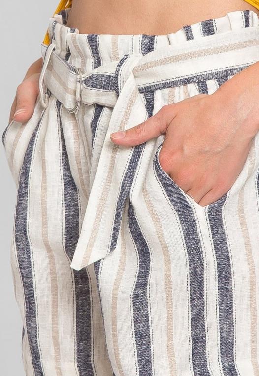 Beach Day Stripe Linen Shorts in Blue alternate img #6