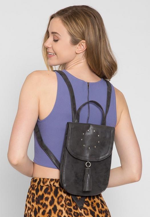 Peace Studded Mini Backpack in Black alternate img #2