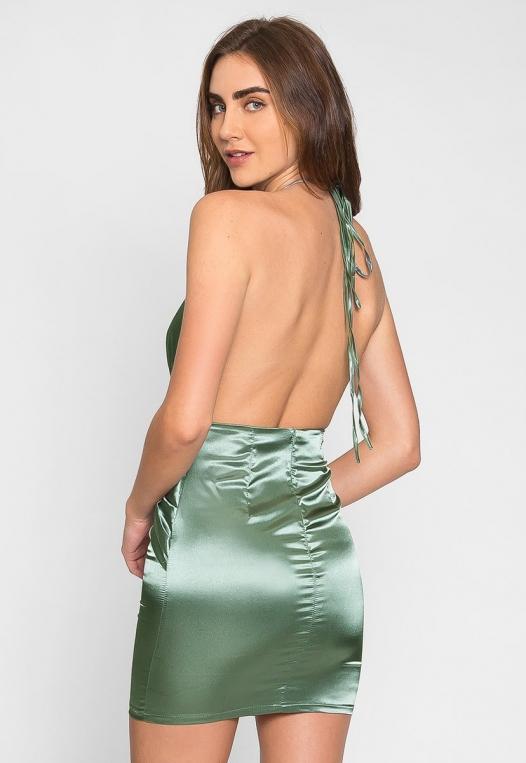 Expression Satin Plunge Mini Dress alternate img #2