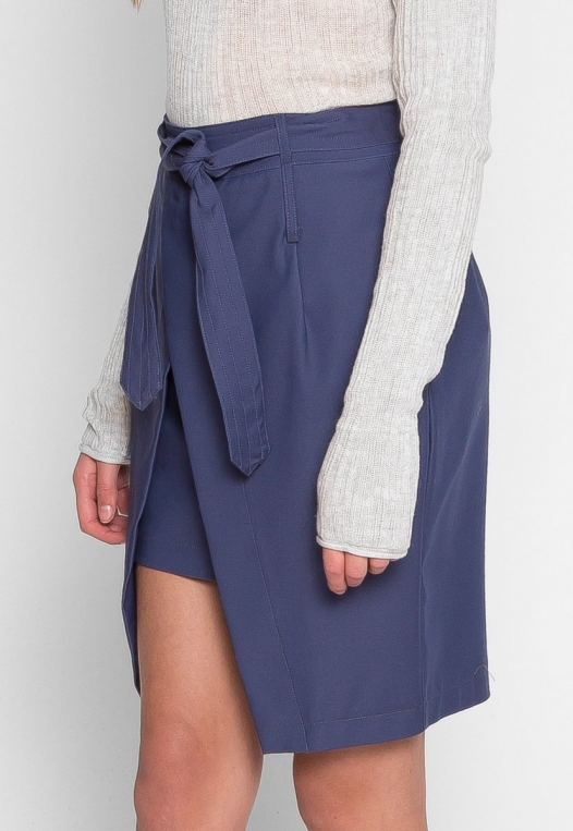 Tie Front Overlay Skirt in Navy alternate img #3