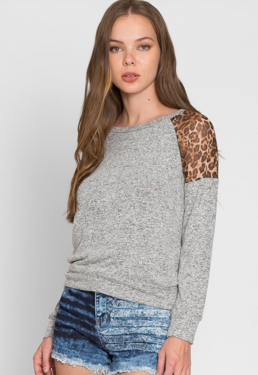 Mystery Leopard Insert Sweater alternate img #2