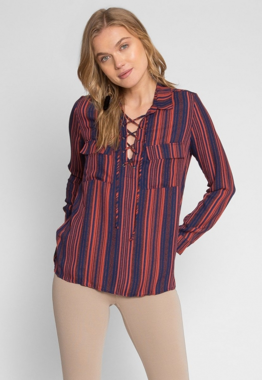 Love To Love Stripe Lace Up Shirt alternate img #2