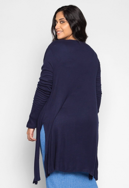 Plus Size Lucky Girl Open Front Cardigan in Navy alternate img #2