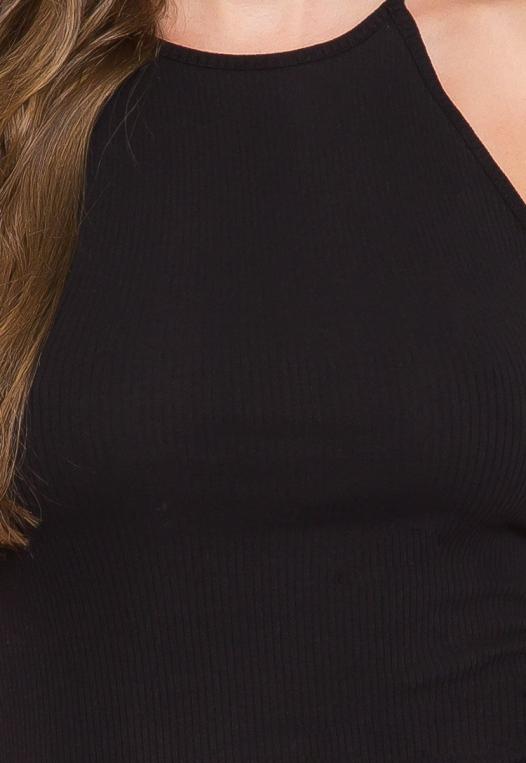 Lush Rib Knit Halter Bodycon Dress in Black alternate img #6