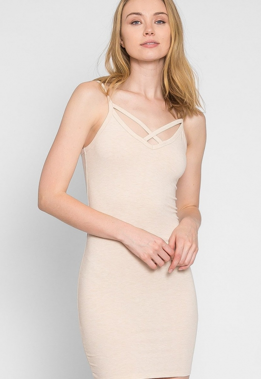 Day Out Knit Bodycon Dress in Beige alternate img #2