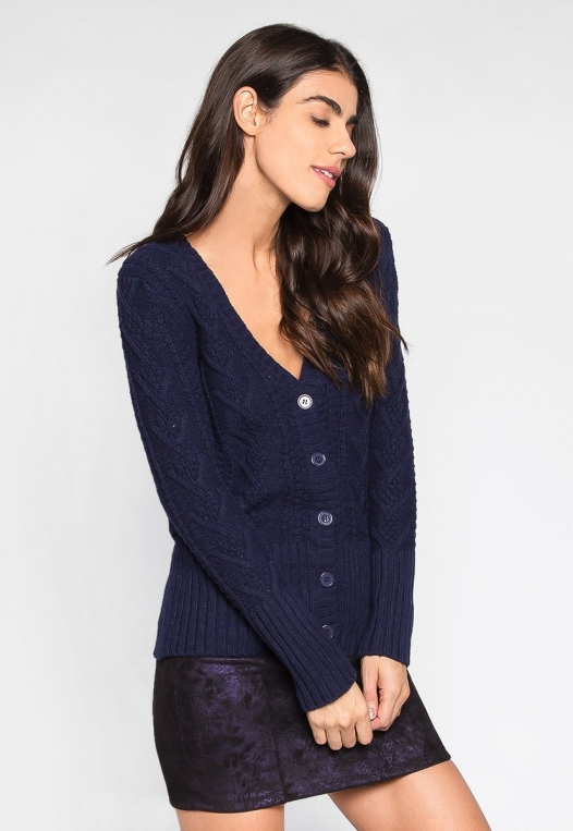 Sweet Like Honey Cable Knit Button Front Cardigan alternate img #3