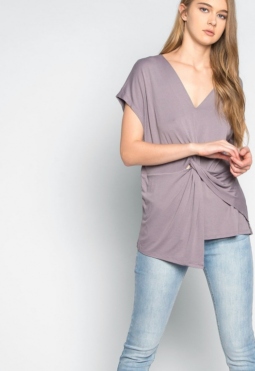 Float on Twisted Front Blouse in Gray alternate img #5