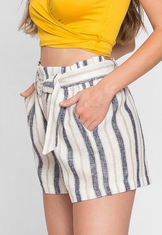 Beach Day Stripe Linen Shorts in Blue alternate img #4