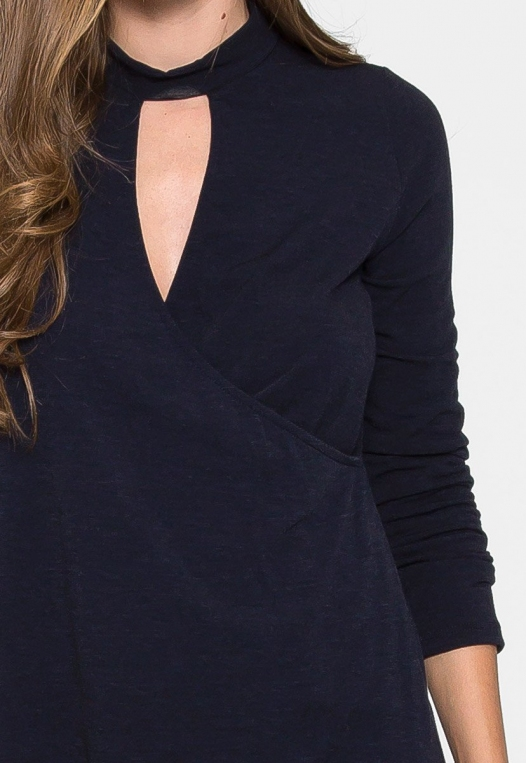House Warming Surplice Dress in Navy alternate img #6