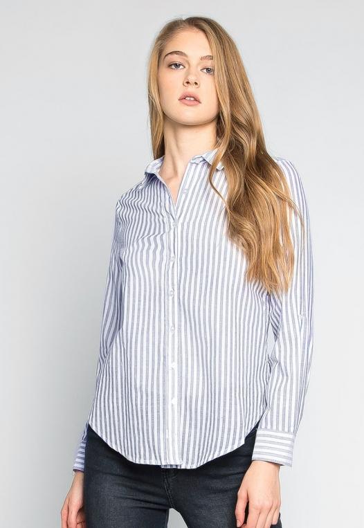 Bosslady Striped Shirt in Navy alternate img #1