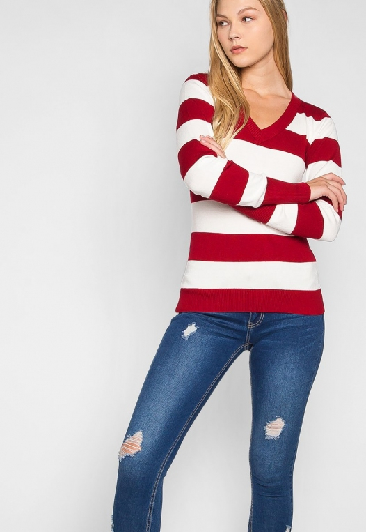 Be My Soulmate V-Neck Stripe Fitted Cardigan in Red alternate img #5