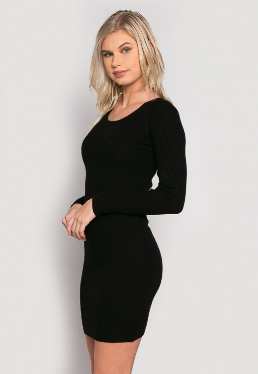Risky Girl Ribbed Knit Dress in Black alternate img #2
