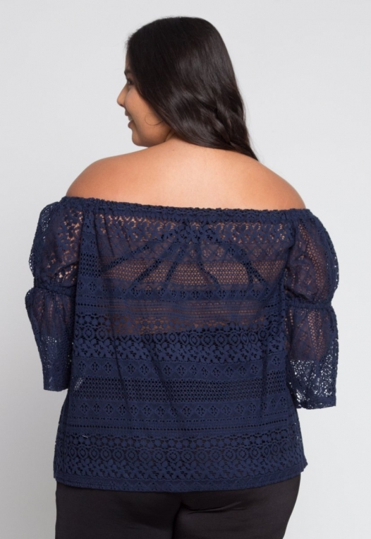 Plus Size Susie Off Shoulder Lace Top in Navy alternate img #3