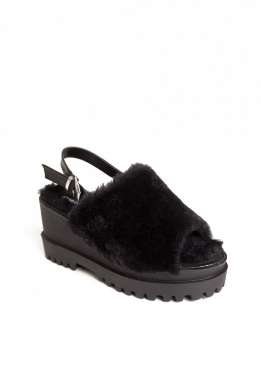 Faux Fur Platform Sandals alternate img #4