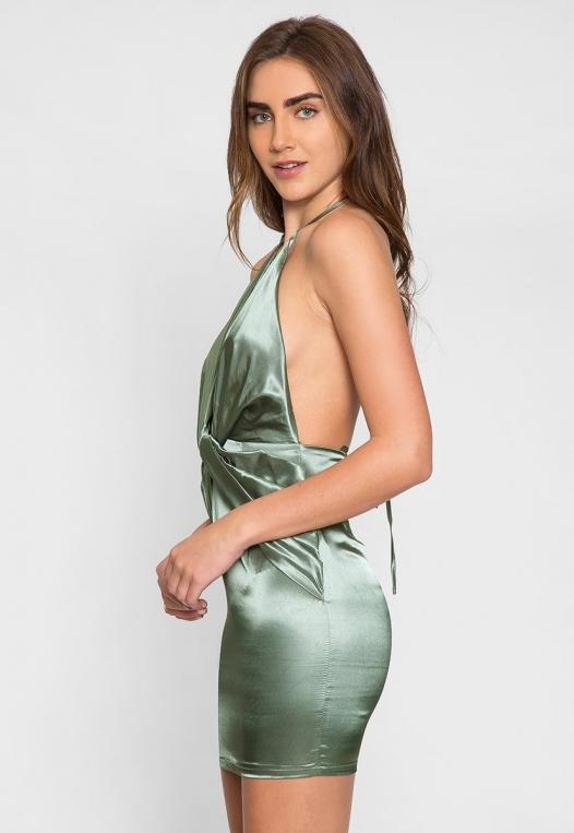 Expression Satin Plunge Mini Dress alternate img #3