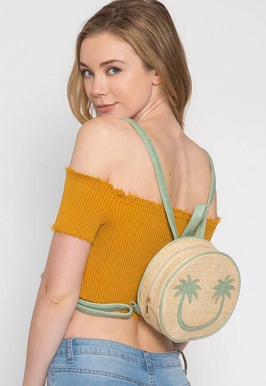 All Smiles Sunny Straw Mini Backpack alternate img #3