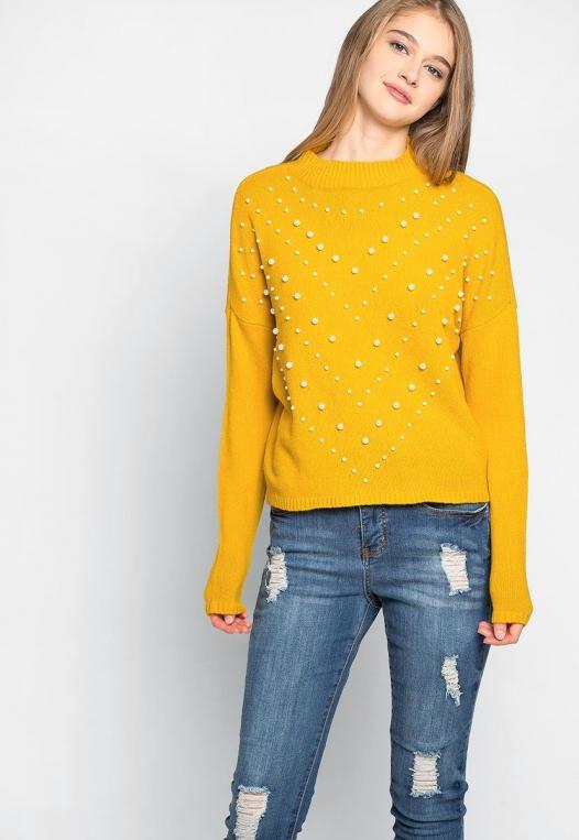Pearl Embellished Mock Neck Sweater alternate img #5