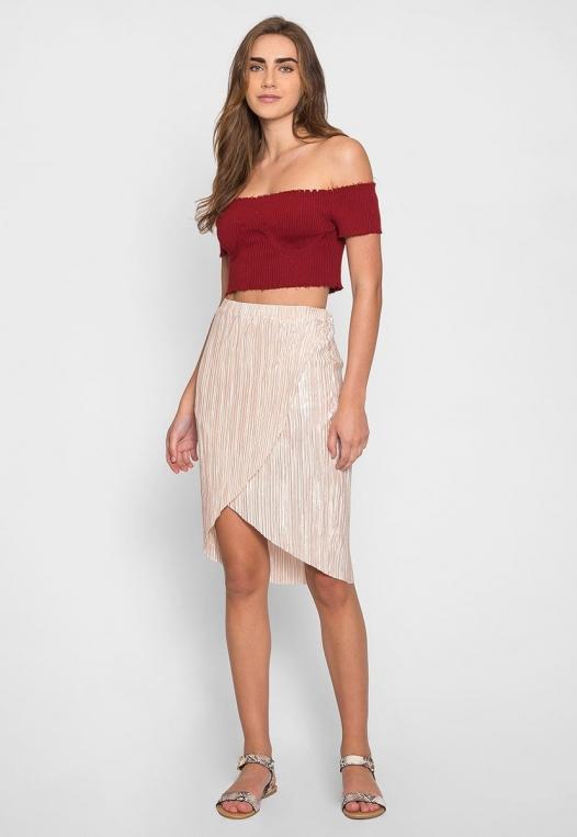 Metallic Pleated Tulip Skirt in Beige alternate img #5
