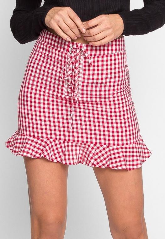 Delphine Plaid Skirt in Red alternate img #2