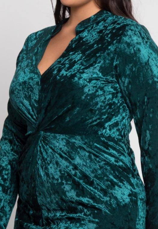Plus Size Wild Velvet Party Dress in Green alternate img #6