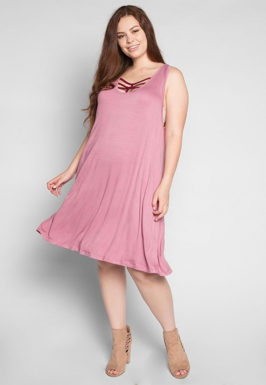 Plus Size Love Stories Tank Dress in Pink alternate img #4